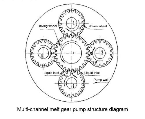 Multi-channel melt gear pump structure diagram