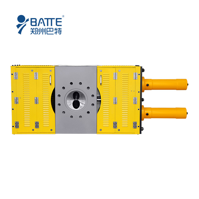 Double plate continuous hydraulic screen changer